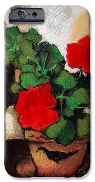 RED GERANIUM iPhone Case by MONA EDULESCO
