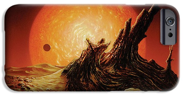 Astronomy Paintings iPhone Cases - Red Giant Sun iPhone Case by Don Dixon