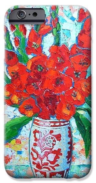 RED GLADIOLUS iPhone Case by ANA MARIA EDULESCU