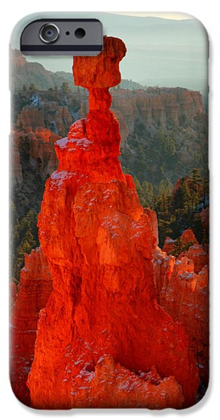 Red glow of the sunrise on Thor's Hammer in Bryce Canyon iPhone Case by Pierre Leclerc Photography