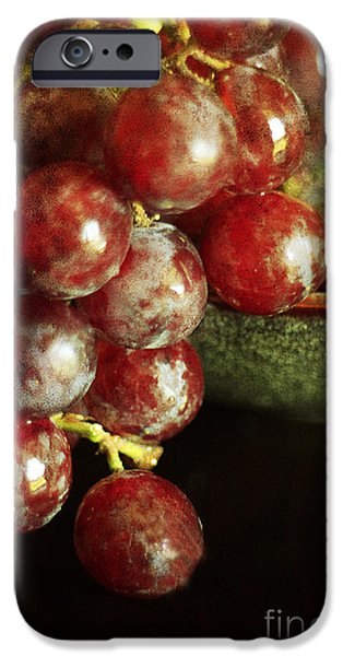 Table Wine iPhone Cases - Red Grapes iPhone Case by Darren Fisher