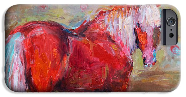 Mustang Horse iPhone Cases - Red horse contemporary painting iPhone Case by Svetlana Novikova
