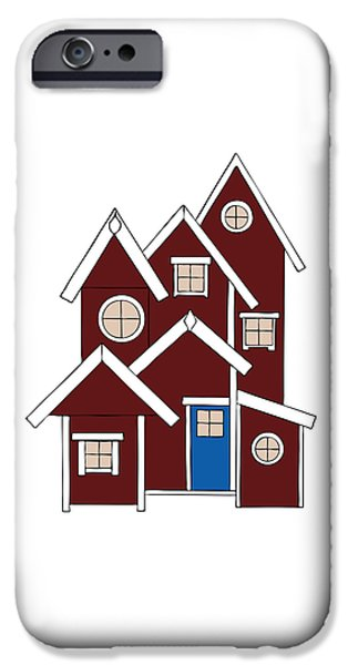 Shed Drawings iPhone Cases - Red Houses iPhone Case by Frank Tschakert