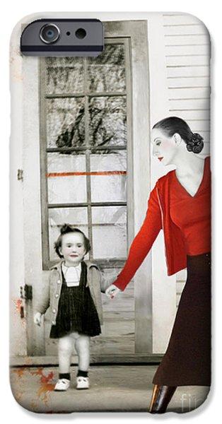 Survivor Art iPhone Cases - Red Jane - Self Portrait iPhone Case by Jaeda DeWalt