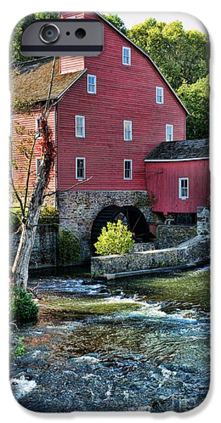 Grist Mill iPhone Cases - Red Mill on the water iPhone Case by Paul Ward