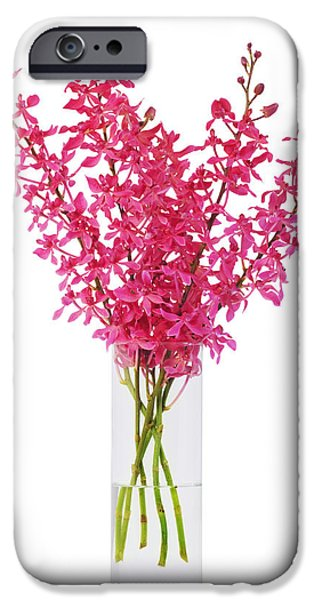 red orchid in vase iPhone Case by ATIKETTA SANGASAENG