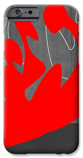 People iPhone Cases - Red People iPhone Case by Naxart Studio