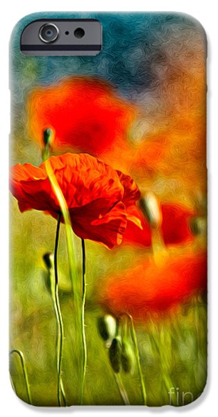 Flora iPhone Cases - Red Poppy Flowers 01 iPhone Case by Nailia Schwarz