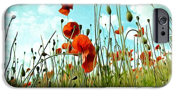 Petals iPhone Cases - Red Poppy Flowers 03 iPhone Case by Nailia Schwarz