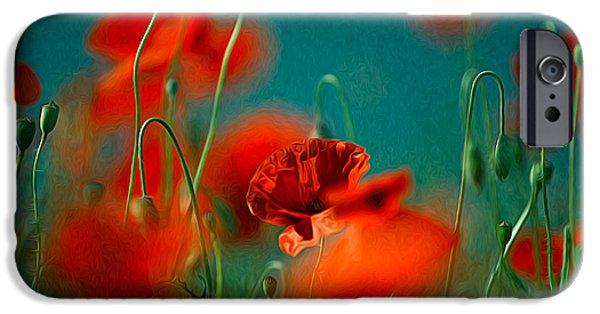 Flora iPhone Cases - Red Poppy Flowers 05 iPhone Case by Nailia Schwarz