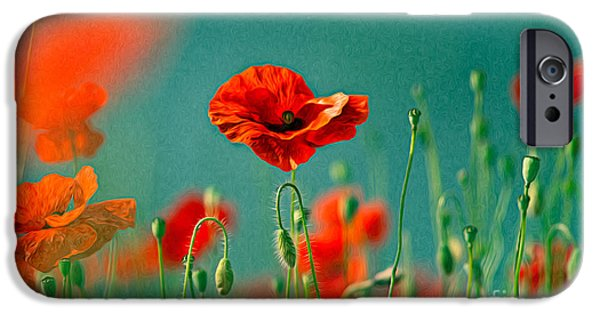 Petals iPhone Cases - Red Poppy Flowers 06 iPhone Case by Nailia Schwarz
