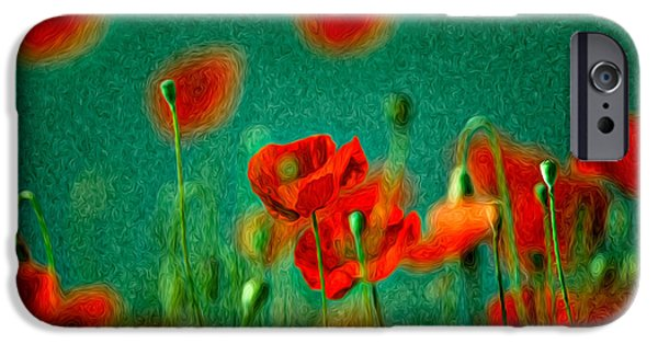 Flora iPhone Cases - Red Poppy Flowers 07 iPhone Case by Nailia Schwarz