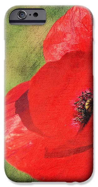 Red poppy impression iPhone Case by Angela Doelling AD DESIGN Photo and PhotoArt