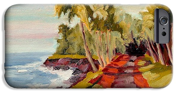 Palm Tree Greeting Cards iPhone Cases - Red Road Some Afternoon iPhone Case by Dan Young