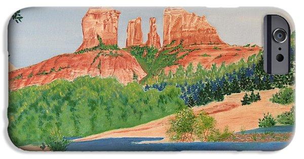 Oak Creek Paintings iPhone Cases - Red Rock Crossing iPhone Case by Aimee Mouw