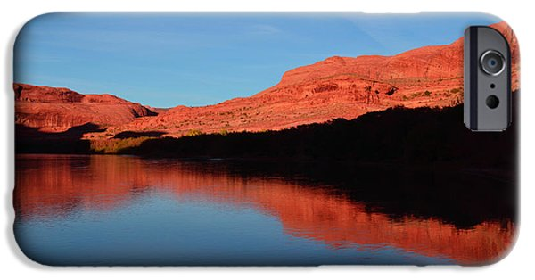 Colorado Fires iPhone Cases - Red Rocks Reflected in the Colorado River iPhone Case by Tara Turner