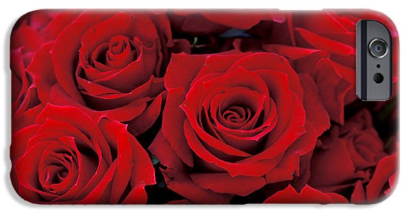 Red Photographs iPhone Cases - Red Rose Bouquet iPhone Case by Kathy Yates