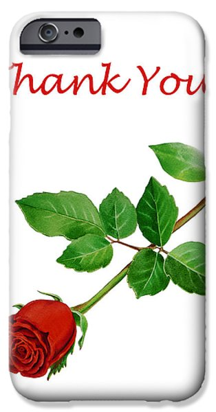 Flower Of Life iPhone Cases - Red Rose Thank You Card iPhone Case by Irina Sztukowski