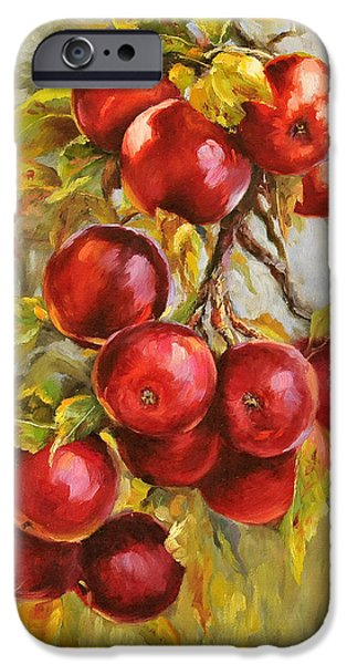 Prismatic Paintings iPhone Cases - Red Russian iPhone Case by Katherine Tucker