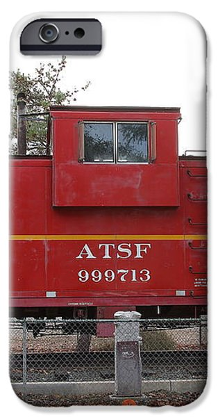 Red Sante Fe Caboose Train . 7D10328 iPhone Case by Wingsdomain Art and Photography