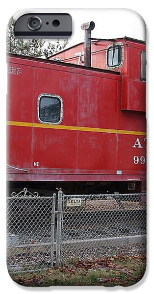 Red Sante Fe Caboose Train . 7D10329 iPhone Case by Wingsdomain Art and Photography