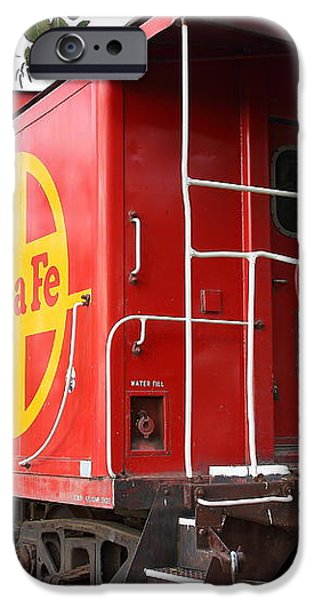 Red Sante Fe Caboose Train . 7D10332 iPhone Case by Wingsdomain Art and Photography