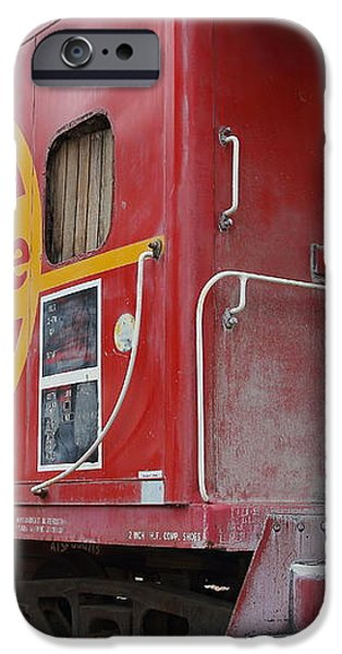 Red Sante Fe Caboose Train . 7D10334 iPhone Case by Wingsdomain Art and Photography