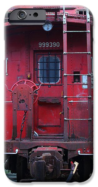 Caboose Photographs iPhone Cases - Red Sante Fe Caboose Train . 7D10476 iPhone Case by Wingsdomain Art and Photography