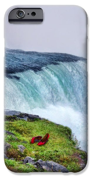 Red Shoes Left by the Falls iPhone Case by Jill Battaglia