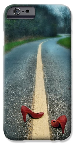 Asphalt iPhone Cases - Red Shoes On Road iPhone Case by Jill Battaglia