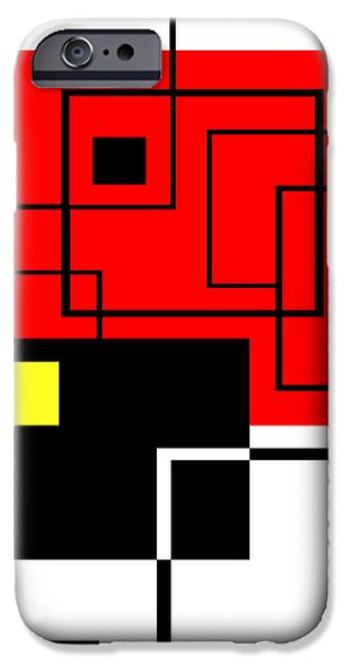 Neo-plasticism iPhone Cases - Red Square a la Mondrian iPhone Case by Ginny Schmidt