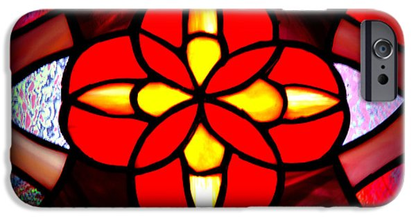 Chicago Glass Art iPhone Cases - Red Stained Glass iPhone Case by LeeAnn McLaneGoetz McLaneGoetzStudioLLCcom