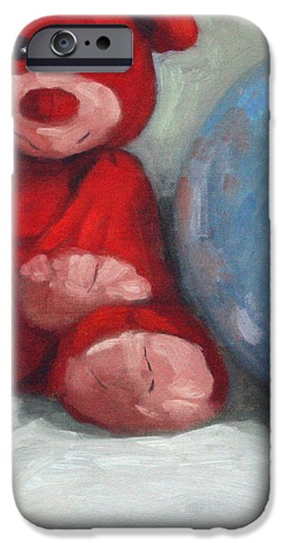 Red Teddy and a Blue Ball iPhone Case by William Noonan