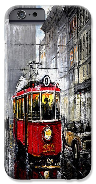 Old Mixed Media iPhone Cases - Red Tram iPhone Case by Yuriy  Shevchuk