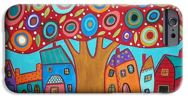 House Pastels iPhone Cases - Red Tree iPhone Case by Karla Gerard