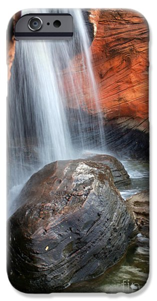 Fall Scenes iPhone Cases - Red Waterfall iPhone Case by Carlos Caetano
