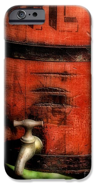 Red weathered wooden bucket iPhone Case by Paul Ward