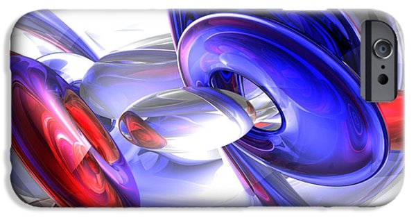 4th Of July iPhone Cases - Red White and Blue Abstract iPhone Case by Alexander Butler