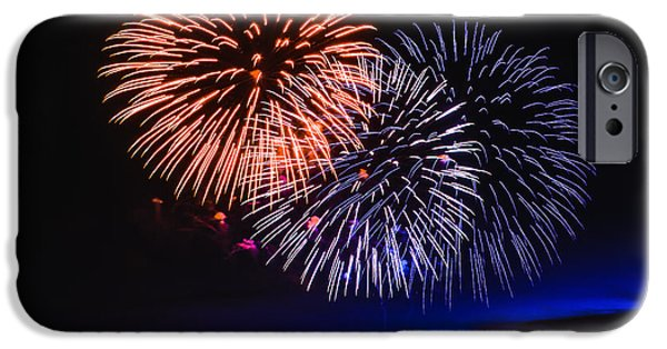 Blue Fireworks iPhone Cases - Red White and Blue iPhone Case by Robert Bales