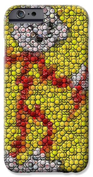 Bottlecaps iPhone Cases - Reddy Kilowatt Bottle Cap Mosaic iPhone Case by Paul Van Scott