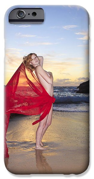 Youthful iPhone Cases - Redheaded model at Eternity Beach iPhone Case by Tomas del Amo - Printscapes