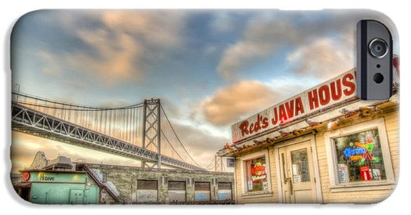 Bay Photographs iPhone Cases - Reds and the Bay Bridge iPhone Case by Scott Norris