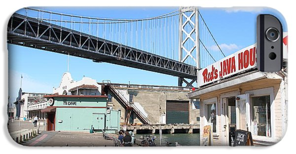 Oakland Bay Bridge iPhone Cases - Reds Java House and The Bay Bridge at San Francisco Embarcadero . 7D7712 iPhone Case by Wingsdomain Art and Photography