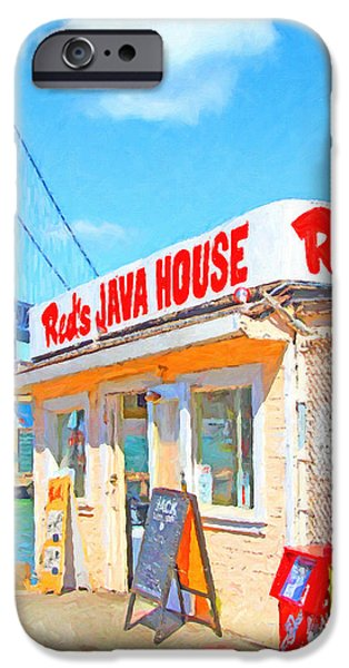 Reds Java House and The Bay Bridge at San Francisco Embarcadero iPhone Case by Wingsdomain Art and Photography