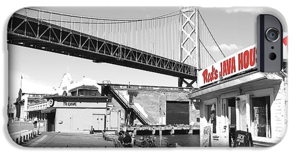 Bay Bridge iPhone Cases - Reds Java House and The Bay Bridge in San Francisco Embarcadero . Black and White and Red iPhone Case by Wingsdomain Art and Photography