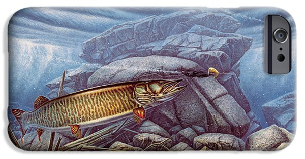 Muskie iPhone Cases - Reef King Musky iPhone Case by JQ Licensing