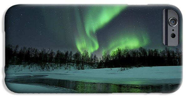 Landscape. Scenic iPhone Cases - Reflected Aurora Over A Frozen Laksa iPhone Case by Arild Heitmann