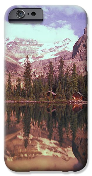 Reflection Of Cabins And Mountains In iPhone Case by Carson Ganci