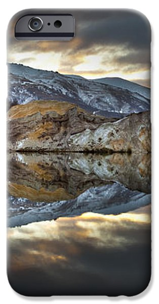 Reflections Of Cliffs On Blue Lake St Bathans iPhone Case by Colin Monteath
