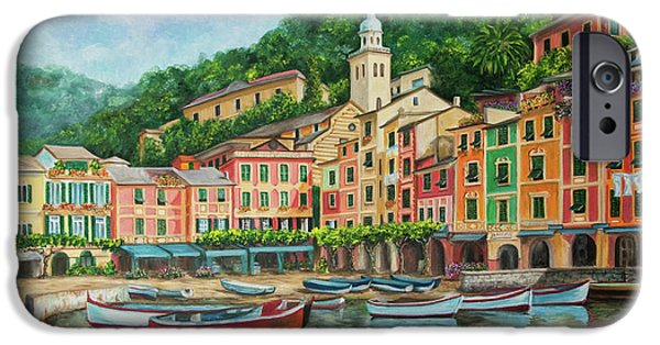 Italian Landscapes Paintings iPhone Cases - Reflections Of Portofino iPhone Case by Charlotte Blanchard